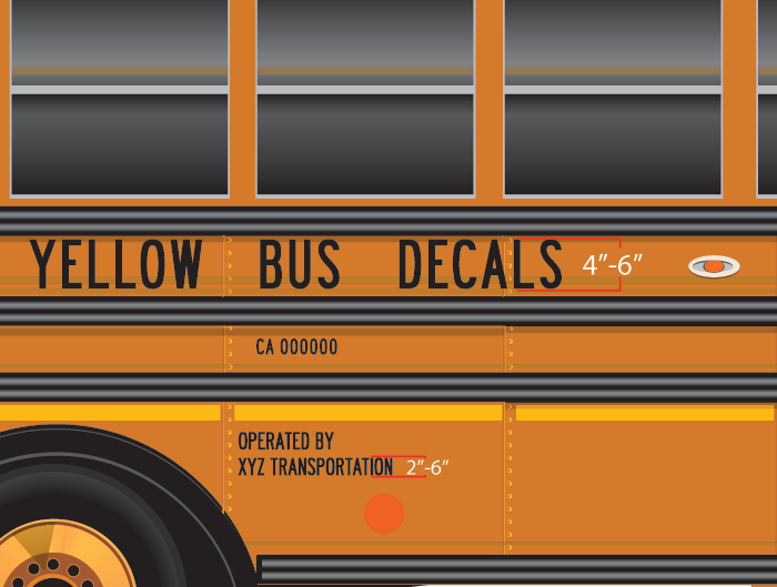 California School Bus Lettering Yellow Bus Decals